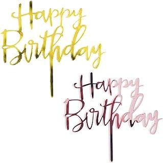 2 Piezas Happy Birthday Cake Toppers, Decoración para Tartas de cumpleaños, Happy Birthday Topper Decoración Toppers para Cumpleaños Baby Shower Fiesta Temática Party Decoration(oro, rosa)