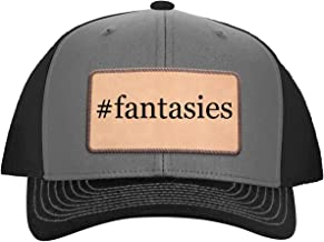 One Legging it Around #Fantasies - Leather Hashtag Light Brown Patch Engraved Trucker Hat