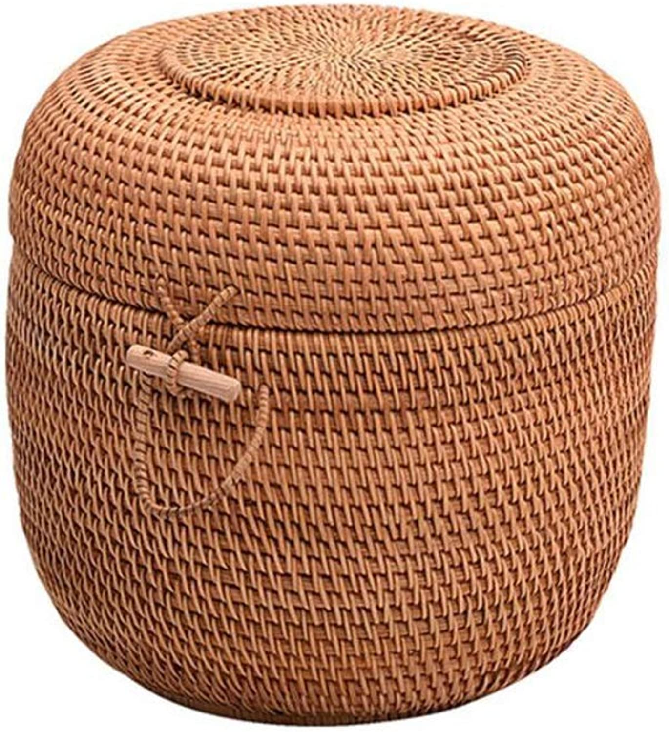 MUMA Storage Box Handmade Rattan Woven with Lid Kitchen Desktop Container (color   T1, Size   22x23cm)