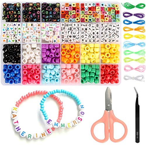972PCS Jewelry Making Supplies Kits Kids DIY Alphabet Letter Pony Beads with Elastic Bracelet String Women Girls Jewellery Making DIY Crafts for Jewellery Making, Bracelets, Necklaces, Keychains