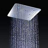 WHZWH - Juego de Ducha de 20 Pulgadas con Efecto Lluvia, Cabezal de Ducha superLED de 3 Tipos de Ducha, con termostato y Sistema de Lluvia