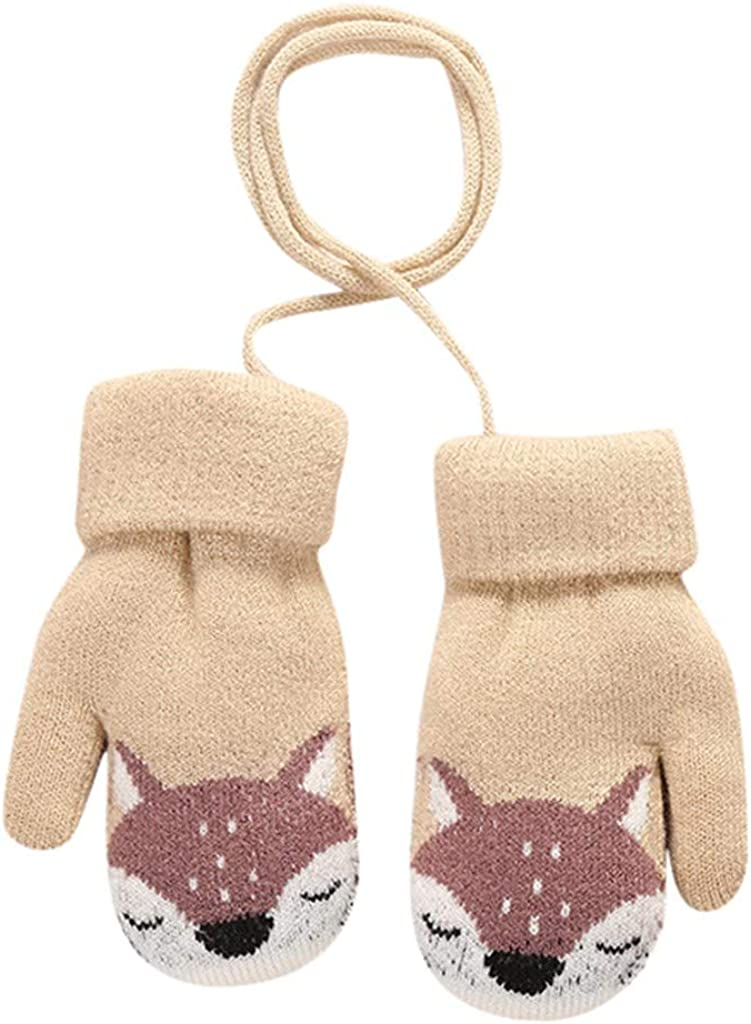 Little Kids Winter Warm Gloves,Colorful Baby Toddler Cute Cartoon Winter Warm Knitted Mittens Gloves with Hanging On Neck Mittens for 3-5 Years Old Boys Girls TM
