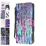 Ancase Lederhülle kompatibel für Samsung Galaxy A51 2020 Hülle Bunter Traumfänger Muster Handyhülle Flip Hülle Cover Schutzhülle mit Kartenfach Leder Tasche für Mädchen Damen