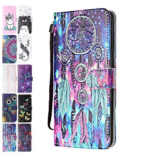ANCASE Funda de Cuero Compatible con Samsung Galaxy A21S con Tapa Libro PU Case Cover Completa Protectora Funda para Teléfono Piel Tarjetero Modelo - Atrapasueños Colorido