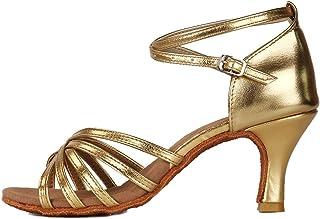 HROYL Zapatos de Baile/Zapatos Latinos de Satén Mujeres ES213