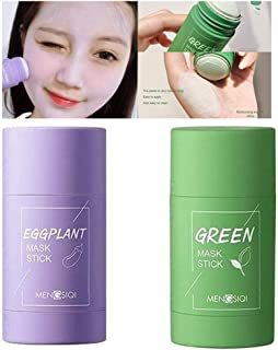 2 PCS Green Tea/Eggplant Purifying Clay Stick Mask, Face Moisturizes Oil Control, Deep Clean Pore, Improves Skin,for All S...