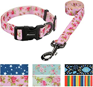 Nordmiex Dog Collar and Leash Set - Adjustable Pet Collar with Matching Leash, Exquisite Printing Dog Collar & Leash Combo with Stripe Pattern for Cat and Small Anmial Training Walking