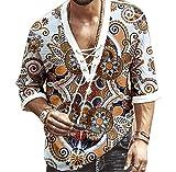 keepmore Camicie Allacciate con Scollo a V con Occhiello con Stampa Stile Etnico da Uomo Camicia a Maniche Lunghe Allentata Casual Vintage