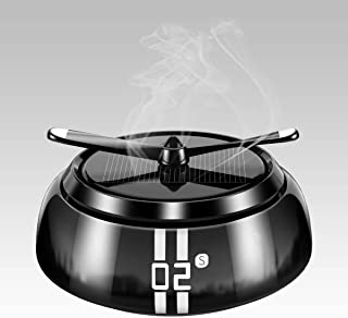 車 芳香剤 消臭 ソーラーパネル使用 香り調節可能 電源不要 プロペラ回転式 コンパクト 2枚アロマパッド付き ブラック