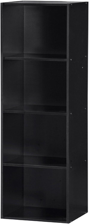 Hodedah HID24 Black 4 Shelve Bookcase, Black