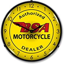 BSA Motorcycle Authorized Dealer LED Wall Clock, Retro/Vintage, Lighted, 14 inch