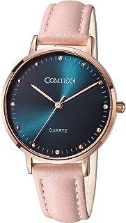 Comtex Relojes Mujer Caja de Oro Rosa Correa de Cuero Rosa Dial Azul con Cristal.