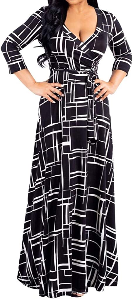 Womens V Neck 3/4 Sleeve Digital Floral Print Casual Party Long Maxi Dress with Belt