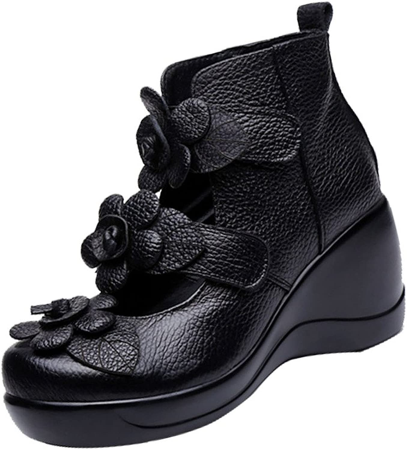 Yolee Women's Leather Flowers Wedges Platform shoes