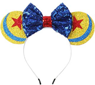 CLGIFT Toy Story Inspired Minnie Mouse Ears Headband/Toy Story Ears/Toy Story Minnie Ears, Silver gold blue minnie ears, Rainbow Sparkle Mouse Ears,Classic Red Sequin Minnie Ears (Toy Story)
