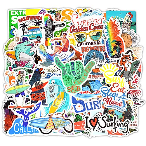 Surfboard Stickers Surfing Sports Stickers 50 Pcs Laptop Stickers Pack Waterproof Surfboard Decals for Water Bottle Laptops Ipad Cars Luggages