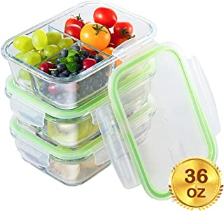 Glass Meal Prep Containers 3 Compartment with Lids[3-Pack, 36oz],Airtight Glass lunch Containers,Glass Food Storage Containers BPA-Free,Microwave, Oven, Freezer, Dishwasher Safe