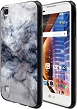 FINCIBO Case Compatible with LG Tribute HD LS676 X Style 5 inch, Flexible TPU Black Soft Gel Skin Protector Cover Case for LG Tribute HD LS676 (NOT FIT LG Tribute 4.5 inch) - White Cloudy Marble