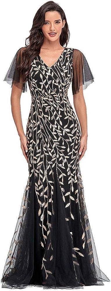 Women's V-Neck Flared Illusion Embroidery Elegant Mermaid Evening Dress
