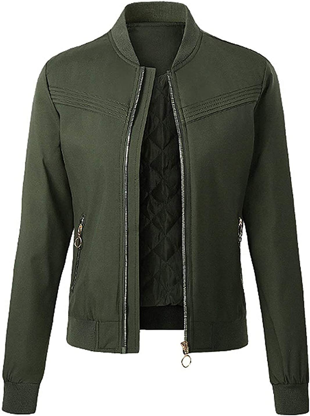 PAODIKUAI Women's Casual Long Sleeves up Zip Jack Clearance SALE Albuquerque Mall Limited time Bomber Quilted