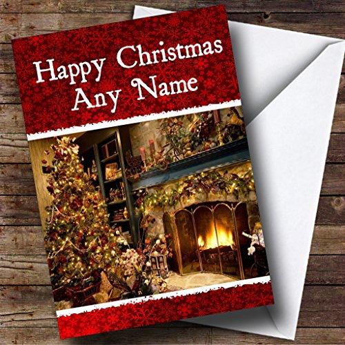 Open haard Kerstkaart Gepersonaliseerd