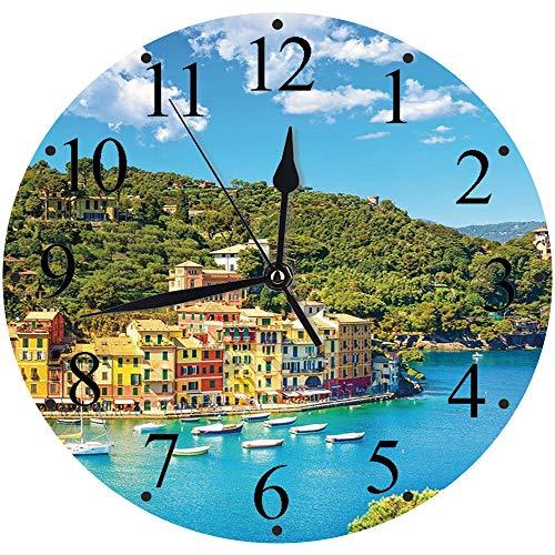 Silencioso Wall Clock Decoración de hogar de Reloj de Redondo,Italia, Portofino Landmark Vista panorámica aérea Village y Yate Little Bay Harbor Decorati,para Hogar, Sala de Estar, el Aula