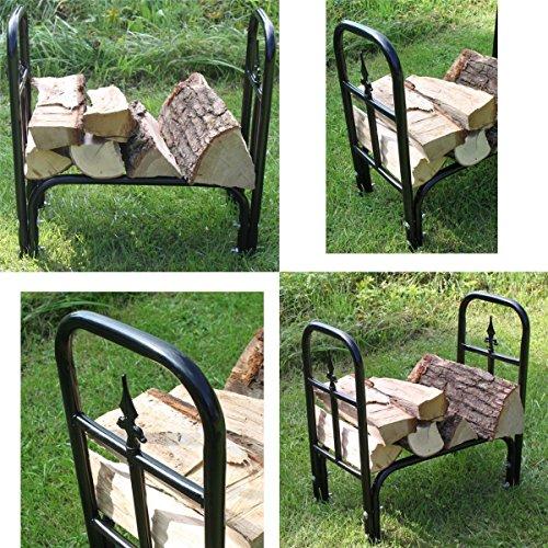 Estexo Home & Garden Design Brennholz-Regal Kaminholz-Regal Holz-Regal Holzkorb Holsständer Metall (LG-06)