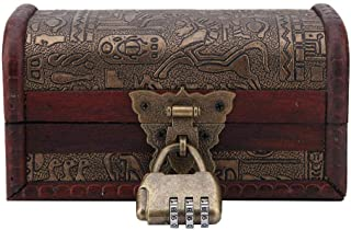 FTVOGUE Egyptian Wooden Antique Old Jewelry Storage Box Trinket Box Shooting Furnishings Props Handmade Crafts, Wood, #1: ...
