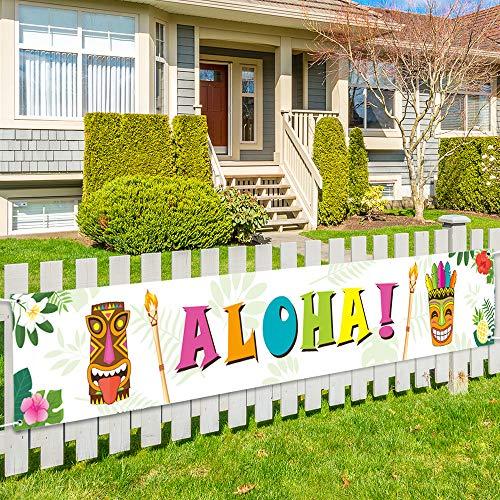 WERNNSAI Hawaiano Tropical Tema Decoraciones de Fiesta - 50 x 300 cm Grande Aloha Bandera para Verano Piscina Playa Suministros para la Fiesta Grande Yarda Firmar Fondo de la Foto