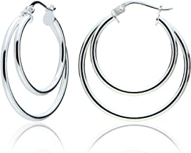 20mm Gold Flash Silver 2-Tone Intertwining Square Tube Polished Hoop Earrings
