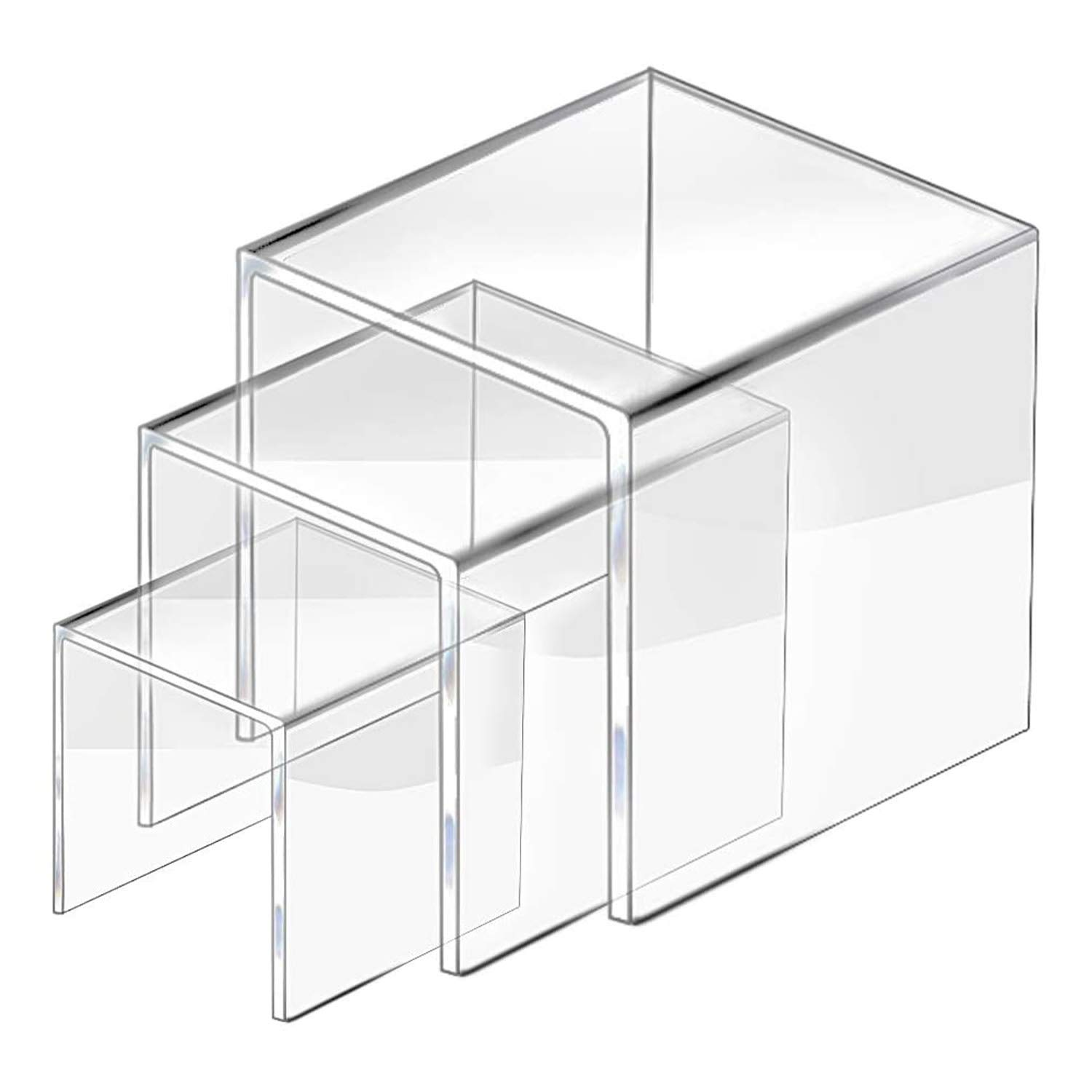 2 Set Acrylic Display Risers Display for Funko POP Figures, Jewelry Display Riser Shelf Showcase Fixtures, Clear Cake Stands for Candy Dessert Table Decorations-3