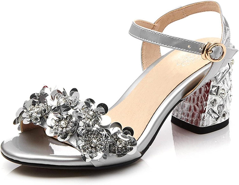 Nine Seven Patent Patent Patent Leather Woherrar Open Toe Chunky Heel Applique Elegant Handgjorda Dress Sandals  butikshantering