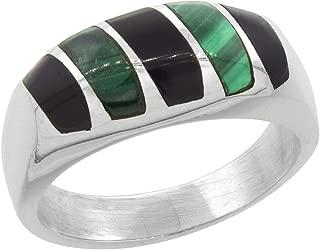 Sterling Silver Black Obsidian & Malachite Ring for Men Oval Vertical Stripes Solid Back Handmade, sizes 9 - 13