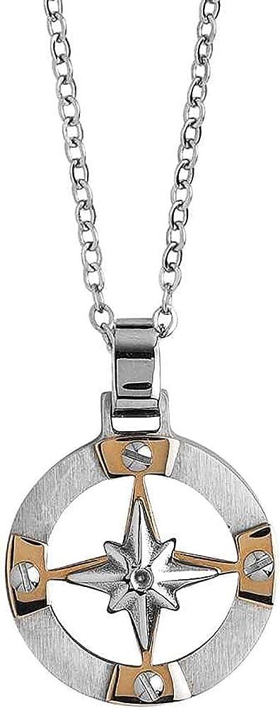 Boccadamo, collana per uomo, in acciaio rodiato con elemento pendente circolare decorato da inserti placcati Agr199