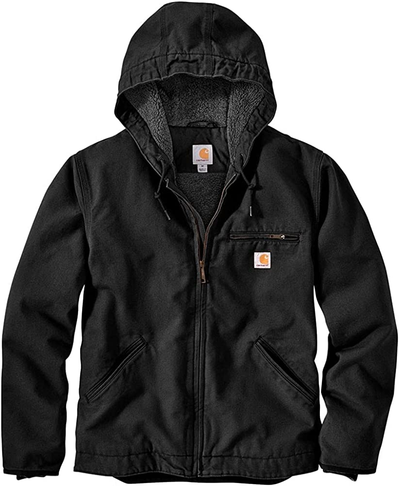 Carhartt Men's High New life material Relaxed Fit Jacket Washed Sherpa-Lined Duck