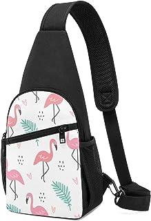 Flamingo - Mochila bandolera con patrón de color blanco, ligera, para el hombro, bolso bandolera, para viajes, senderismo,...