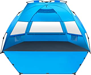 MIRUS Deluxe XL Pop Up Beach Tent Sun Shade Shelter for 3-4 Person, UV Protection, Extendable Floor with 3 Ventilating Win...