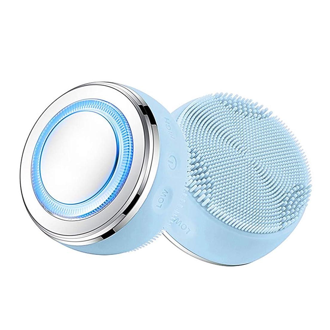 分析的を除く組み立てる2-IN-1クレンジングブラシ、ホットプレスLEDスキンクリーナー、防水シリコーン毛穴クリーナー美顔器