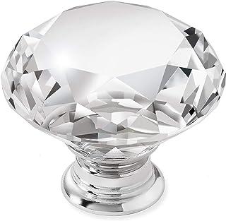 """Cauldham 10 Pack Premium Glass Crystal Kitchen Cabinet Knobs Pulls (1-5/8"""" Diameter) - Dresser Drawer/Door Hardware - Styl..."""