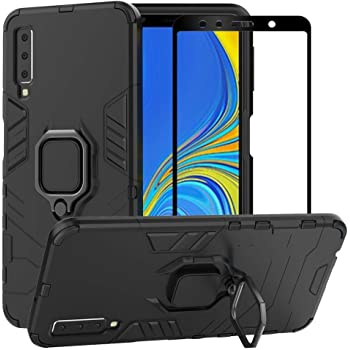 BestAlice for Samsung Galaxy A7 2018 / A750 Case, Hybrid Heavy Duty Protection Shockproof Defender Kickstand Armor Case Cover Tempered Glass Screen Protector,Black