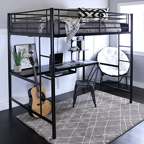 Walker Edison Furniture Modern Metal Pipe Full Double Size Loft Workstation Kids Bed Bedroom Storage Guard Rail Ladder, Black