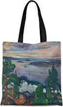 Ablitt Tote Bag Shoulder Bags Canvas Norwegian Edvard Train Smoke Painter Expressionist Symbolism Expressionism Grocery bag Women's Handle Shoulder Tote Shopper Handbag