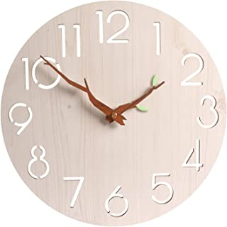 Modern Simple Wooden Wall Clock, 12 inch Large Round Silent Decorative Wall Clock, Battery Operated, for Kitchen, Living R...