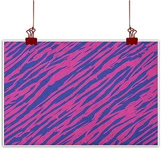 Sunset glow Decorative Art Print Pink Zebra,Retro Design Grunge Abstract Murky Zebra Stripes with Wavy 80s Style, Cobalt Blue Fuchsia for Boys Room Baby Nursery Wall Decor Kids Room Boys Gift