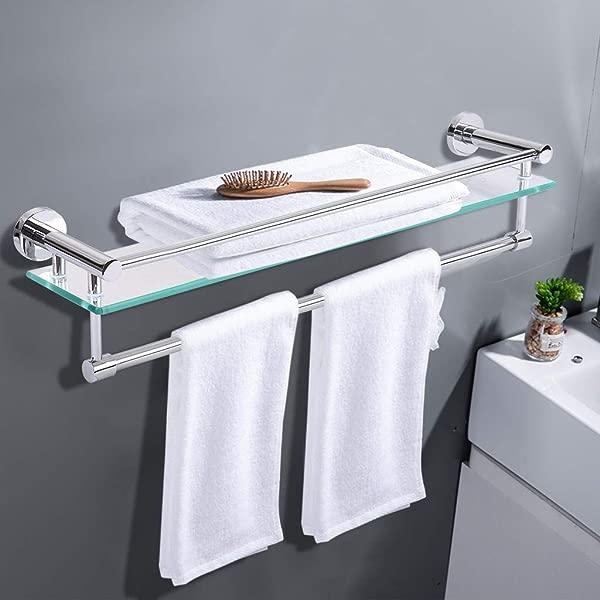 LLJEkieee 浴室置物架双层毛巾杆架钢化玻璃浴室架子带毛巾杆壁挂式淋浴收纳