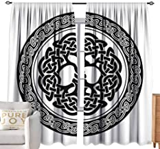 Bensonsve Tie Up Curtain Celtic Decor,Native Celtic Tree of Life Figure Ireland Early Renaissance Artsy Modern Design,Black White W96 x L96 inch,Tie Up Shade for Small Window