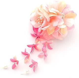 [ミッシュキッシュ]髪飾り クリップ ヘアアクセサリー 2種類の花がよりそう和風コサージュ 17367