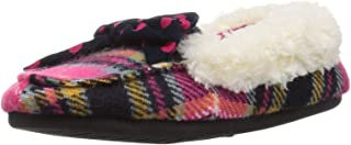 Kid's Plaid Moccasin with Polka Dot Bow Slipper