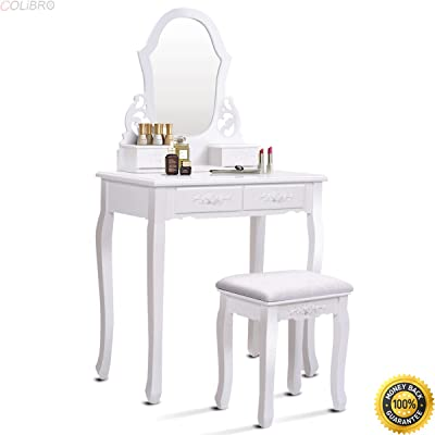 Amazon.com: Modern Vanity Table Set with 5 Drawers Large
