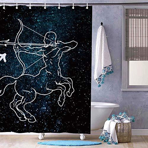 Cortina de baño sin marca con ganchos, 72 pulgadas de largo, para montar a caballo y tiro con arco y cortina de ducha de baño para bañeras y bañera, lavable a máquina
